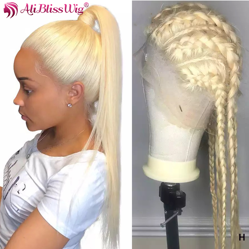 Full Lace Human Hair Wigs 613 Blonde Brazilian Remy Brazilian Pre Plucked Glueless Straight Full Lace Wig with Baby Hair 130% image
