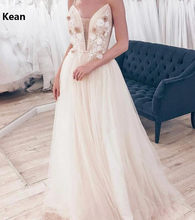 Champagne Spaghetti Straps Deep-V Wedding Dress Appliques Bead vestido De Noiva Dubai Arabic Wedding Bride Dress Robe De Mariee(China)