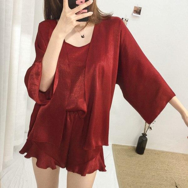 Four-piece Set Pajamas Women's Spaghetti Strap Pajamas Women's Robes Coat Tracksuit Spring And Summer Autumn 6 PCs Color 3 PCs C