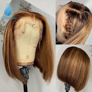 SHD 13*6 парик из натуральных волос на кружеве с короткими волосами для малышей, 150 плотность, средняя плотность, бесклеевые парики, Remy Hair preplecked ...