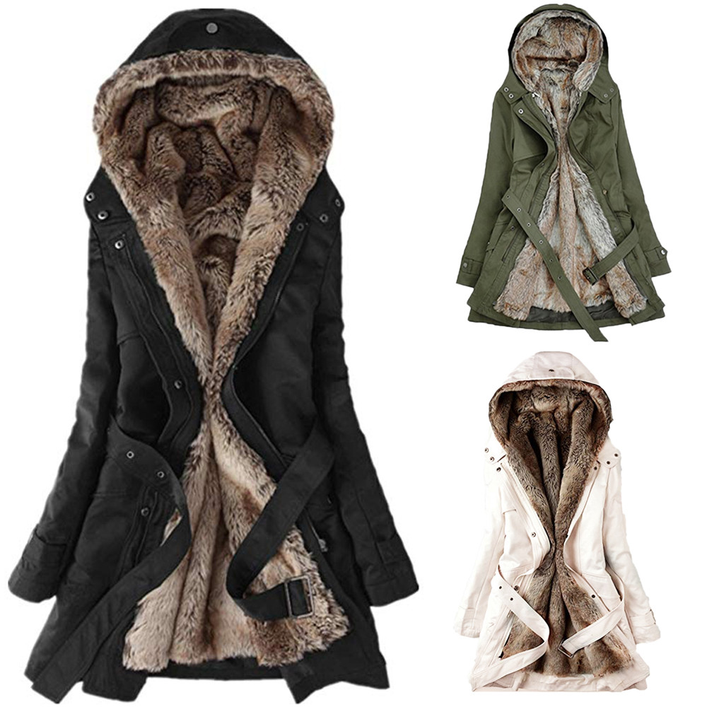 Ladies Fur Lining Trench Coat Womens Winter Warm Thick Long Hooded Outwear