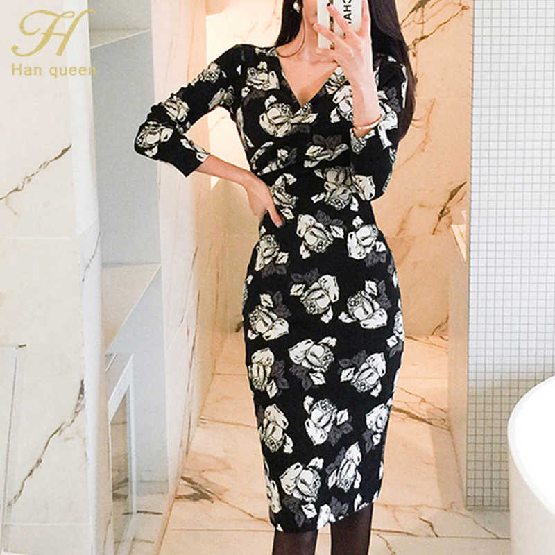 H Хан queen с печатным рисунком и длинным рукавом, узкое платье, бодикон, Для женщин Осень сексуальный v-образный вырез платья с пышной юбкой 2019 новые туфли для женщин с цветочным принтом Vestidos