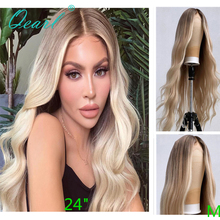 """Full Lace Human Hair Wigs 8"""" 26"""" Ombre Blonde Colored Middle Part Full Wig for Women Brazilian Wavy Remy Hair 150% 180% Qearl"""