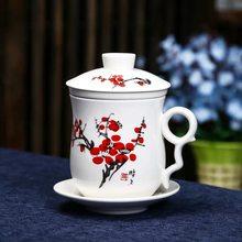 Azul e branco porcelana cerâmica escritório xícara de chá com tampa e filtro criativo cerâmica pintados à mão copo de água presente drinkware