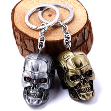 2019 Movie Terminator Key chain Cool 3D Skull head Shape Metal Keychain Keyring Alloy Terror Rings Gift