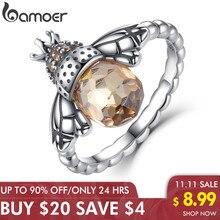 BAMOER Anillo de plata de primera ley con forma de ala para mujer, sortija, plata esterlina 100%, diseño Animal, naranja, abeja, Navidad, SCR025