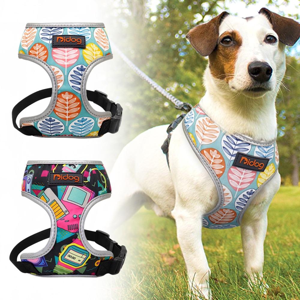 Ademend Nylon Geen Pull Hond Harnas Vest Reflecterende Verstelbare Gedrukt Huisdier Harnas Voor Kleine Middelgrote Honden Katten