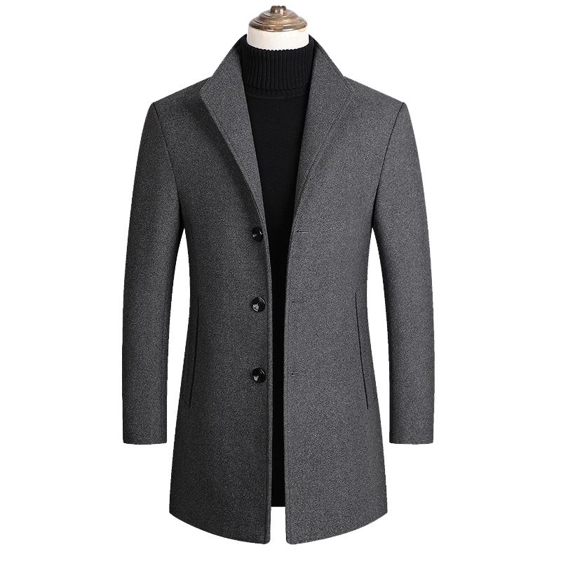 Men Wool Blends Coats Autumn Winter New Solid Color High Quality Men's Wool Jacket Luxurious Brand Clothing