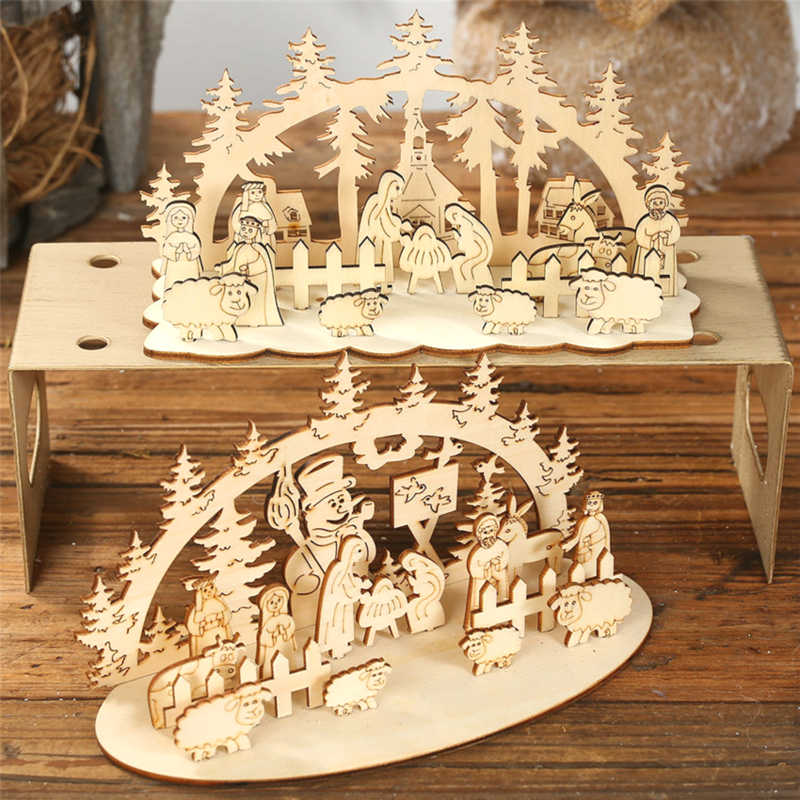 New Year 2020 Natural Xmas Wood Craft Christmas Tree Ornament Wooden Pendant Decoration Noel Decora Adornos De Navidad 2019 Gift