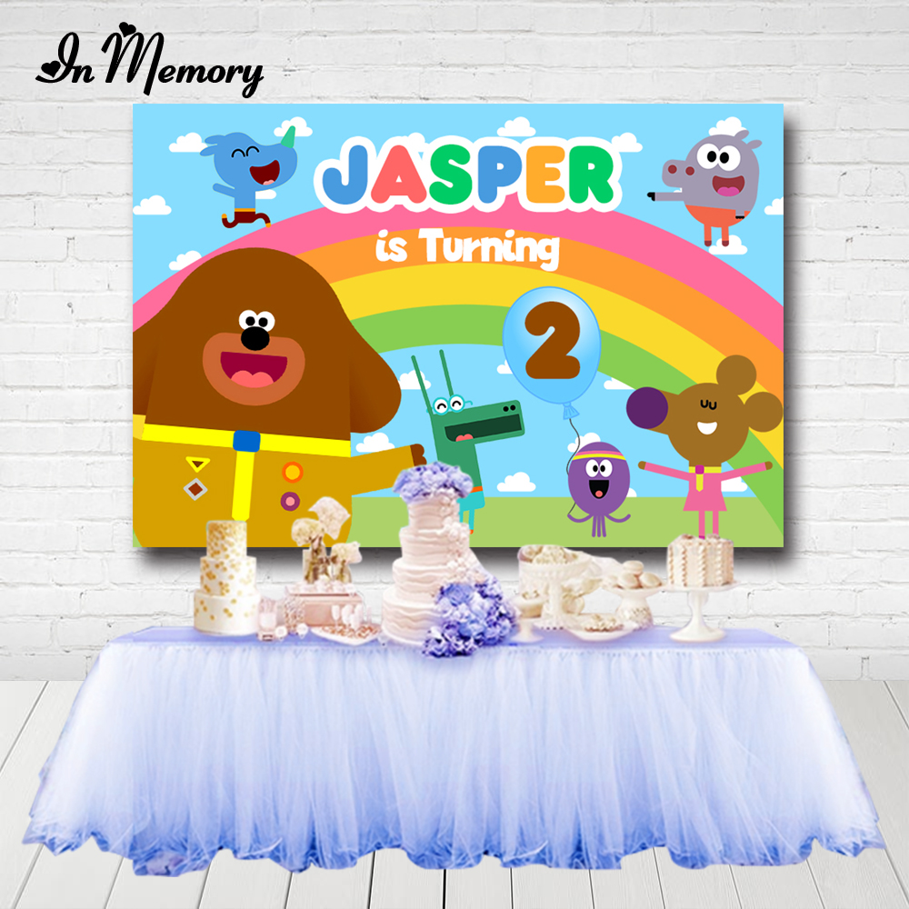 InMemory Cartoon Hey Duggee Party Backdrops For Photo Studio Blue Sky Clouds Rainbow Kids Birthday Party Photographic Background