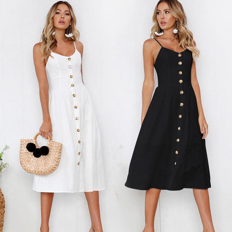 Women Sleeveless Backelss Summer Dress 2020 New Black White Casual Dress Spaghetti Strap Dresses Button Fashion Sexy Sundress