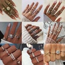 KISSWIFE 11 unids/set de anillos geométricos de serpentina de estilo bohemio Vintage para mujer, anillo de oro de cristal, joyería Simple para fiestas, regalo al por mayor