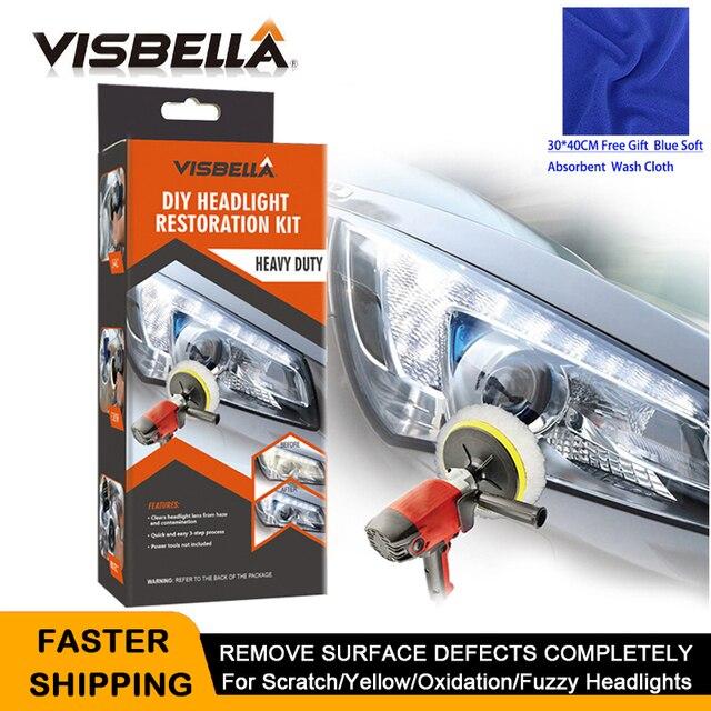 VISBELLA 헤드 라이트 복원 수리 키트 DIY 전조등 자동차 관리 수리 키트 헤드 램프 렌즈 천으로 기계로 깨끗한 폴란드어