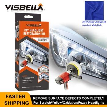 цена на VISBELLA Headlight Restoration Repair Kit DIY Headlamp Car Care Repair kit Head Lamp Lens Clean Polish by machine with cloth