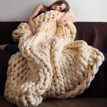 Fashion Blanket Chunky Merino Wool Blanket Thick Big Yarn Roving Knitted Blanket Warm Throw Blankets Sofa Cover Plaid On The Bed