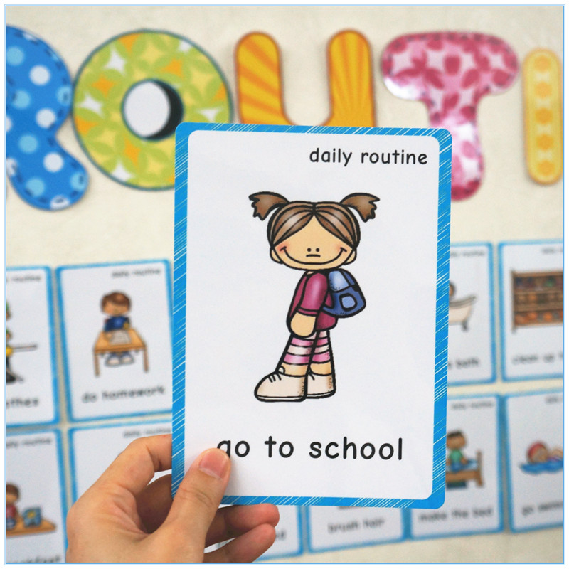 46 Group Daily Routine English Kids Flash Cards Everyday Phrases Study Education Card Classroom Wall Decoration For Kindergarten