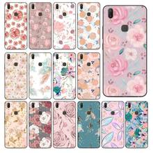 Sequin Flower Art Pattern TPU Soft Black Phone Case For Vivo Y83 Y85 V9 Y95 Y91 Y91i Y97 V5 V5S V7 PLUS V11 V11 Pro V11I(China)