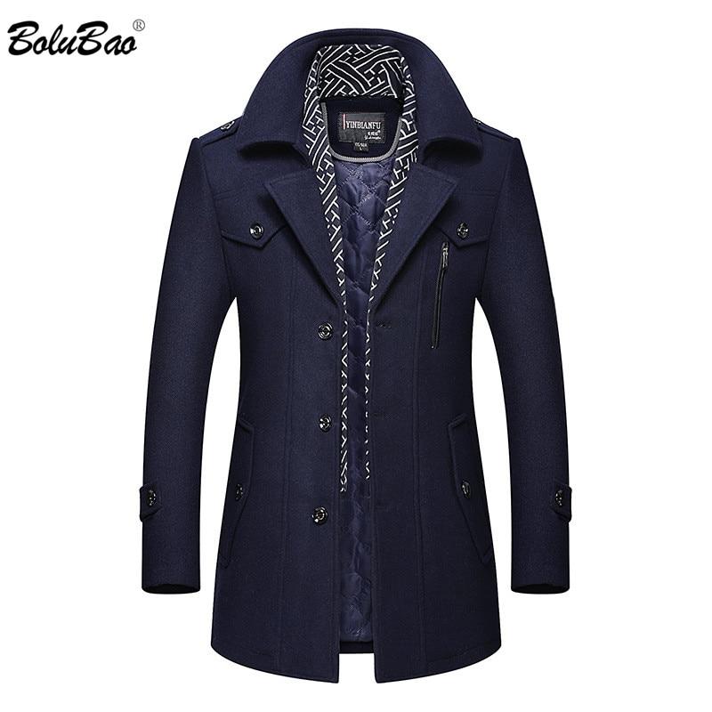 BOLUBAO Winter Brand Men Wool Blend Coats Men's Thick Warm Wool Blend Overcoat Luxurious Fashion Wool Coat Male