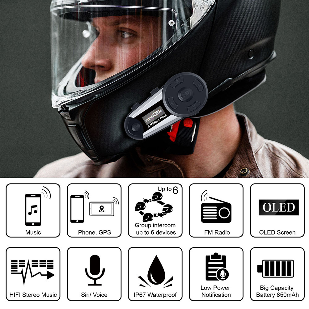 Image 2 - Fodsports V6 Plus Motorcycle Helmet Intercom Moto Bluetooth Helmet Headset 6 Riders 1200M BT Interphone Intercomunicador FM LED-in Helmet Headsets from Automobiles & Motorcycles
