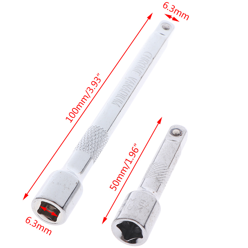 50mm 100mm Long Extension Bar 1/4 Drive Ratchet Socket Extender Socket Tool