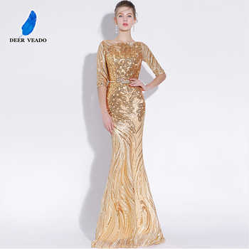 DEERVEADO Sexy Mermaid Evening Dress Long Half Sleeves Sequins Prom Gown Golden Formal Dress Women Occasion Party Dresses YS428 - DISCOUNT ITEM  51% OFF All Category