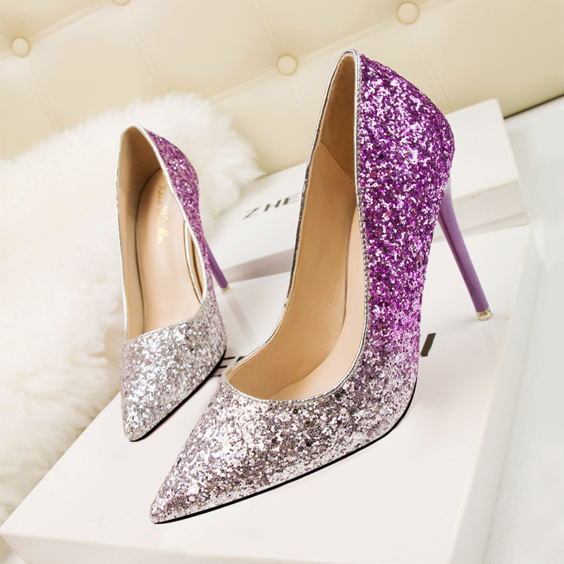 Sexy Bling Sequins Womens Autumn Pumps Shoes Pointed Toe Super Thin High Heels Lady Party Female Shallow Shoes zapatos de mujer