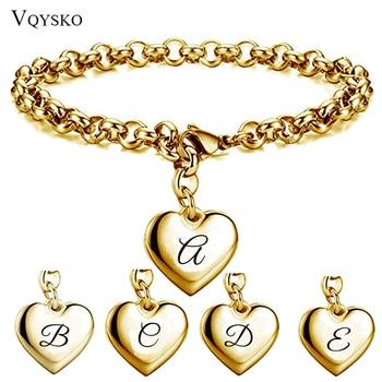 Gold Color Initial Alphabet 26 letter Bracelet For Women Stainless steel Link Chain Heart Charm Pendant Bracelets Wholesale
