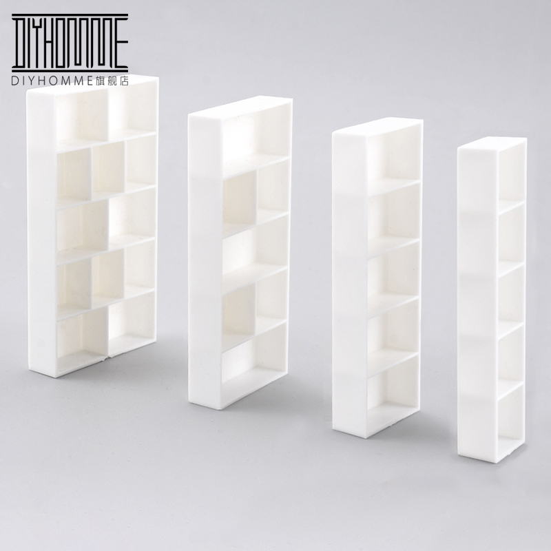 5pcs Dollhouse Mini White Furniture Miniature Doll Accessories Plastic Book Shelf