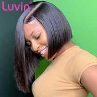 Luvin droite 13x6 court Bob Lace Front cheveux humains perruques brésilienne frontale perruque pré plumée avec des cheveux de bébé livraison gratuite