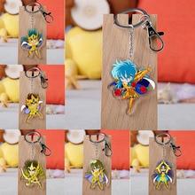 Anime Saint Seiya Keychain Cartoon Figure Peripherals Acrylic Pendent Keyring