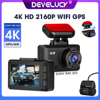 DEVELUCK Ultra HD 4K Night Vision DVR 24 Hours Parking Monitoring Loop Recording 2160P + 1080P Driving Recorder 4G WIFI GPS image
