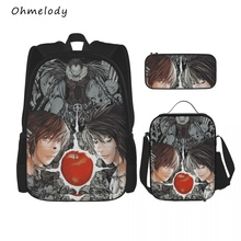 Death Note Boys Cool School Backpack Sets 3in1 Bookbag Lunch Bags Pencil Cases Children Cartoon Backpack for Travelling Picnic