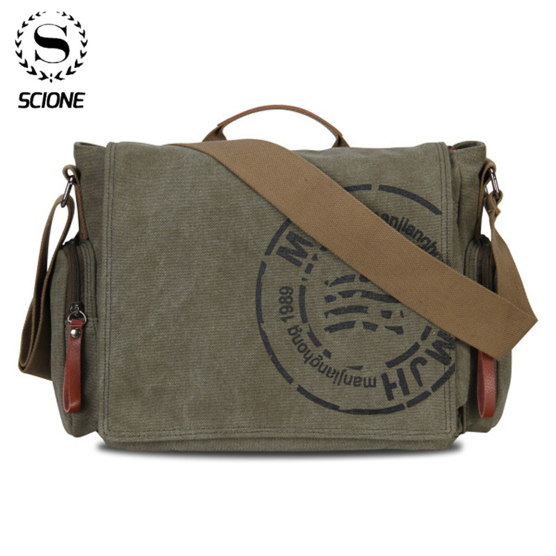 Scione Leisure Canvas Men's Briefcase Bags Quality Guaranteed Man's Shoulder Bag Fashion Business Functional Messenger Bag