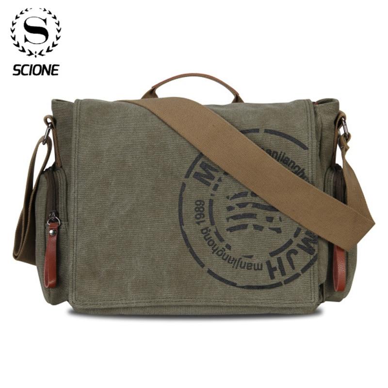 Scione Leisure Canvas Men's Briefcase Bags Quality Guaranteed Man's Shoulder Bag Fashion Business Functional Messenger Bag