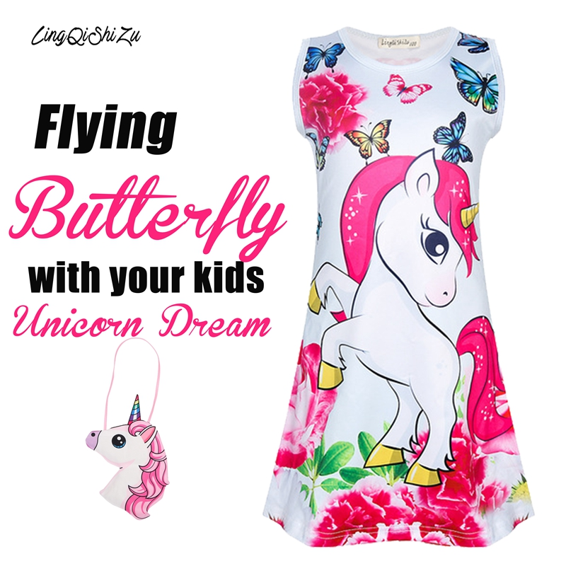 Popular Sales Brief Toddler Summer Dress For Girls Butterfly Unicorn Girls Party Dress 3-5 6 7 8 Years Toddler Flower Girl Dress