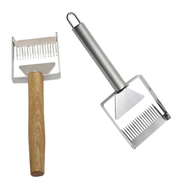 Stainless Steel Wooden Handle Needle Type Honey Scraper Cutting Honey Comb Knife Scraping Shovels Beekeeping Beekeeper Supplies