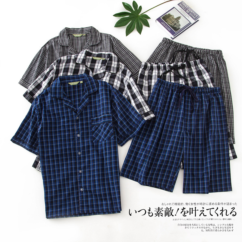 New Men's Summer Short Sleeves Cotton Pajamas Plaid Turn-down Collar Mens Pyjama Sexy Sleepwear Loungewear Home Sleeping Suits