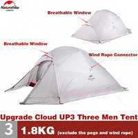 Naturehike Upgrade CloudUp3 Outdoor Portable Camping Tent 3 Persons Outdoor Ultralight Hiking Tent Rainproof Breathable Tents