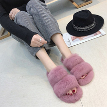100% Ladies Fur Slippers Rabbit Fur Slippers Women Flat Slippers faux fur overlay slippers with rabbit ears