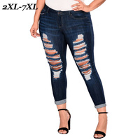 Joineles Plus Size 7XL Casual Women Holes Ripped Jeans Skinny Stretchy Cotton Zip Fly Pockets Fashion Streetwear Jeans