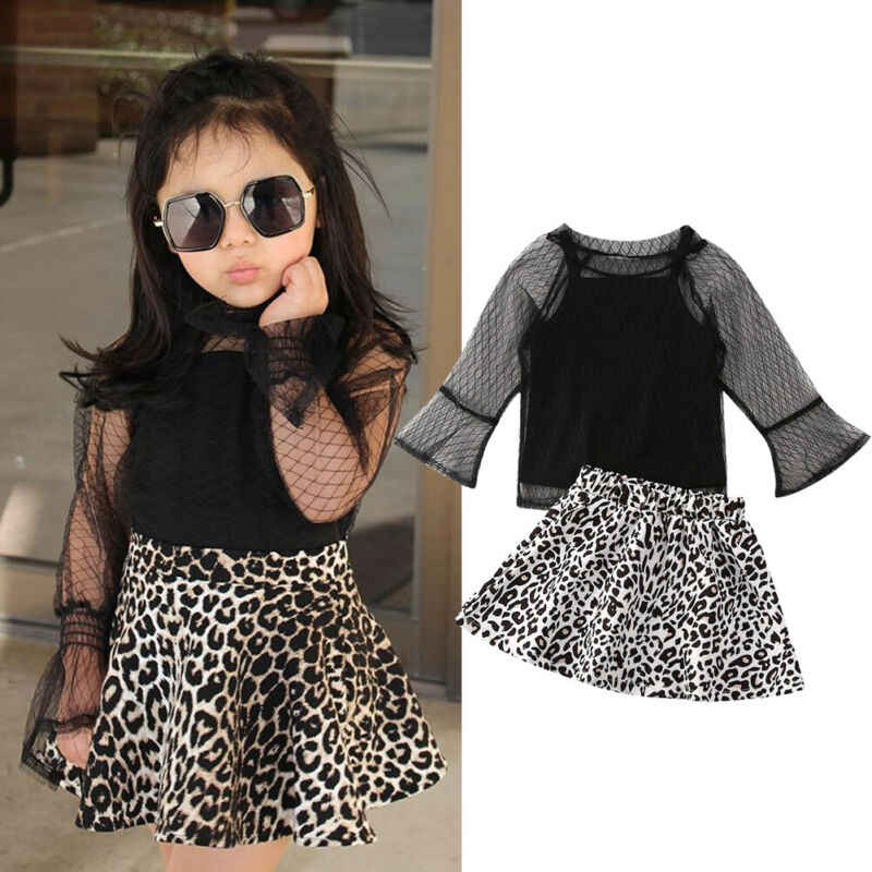 YOUNGER TREE Toddler Kids Baby Girl Sport Outfits Solid Color Vest Leopard Print Skirt Headband 3Pcs Summer Clothes