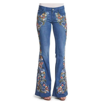 Embroidered Slim Flared Women Jeans European and American Style Ladies Casual Autumn Fashion Sexy Female Skinny Denim Pants
