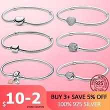 Pulseira feminina 2021 nova 925 prata esterlina cobra corrente feminina pulseira de prata coração pulseira para mulher prata esterlina jóias