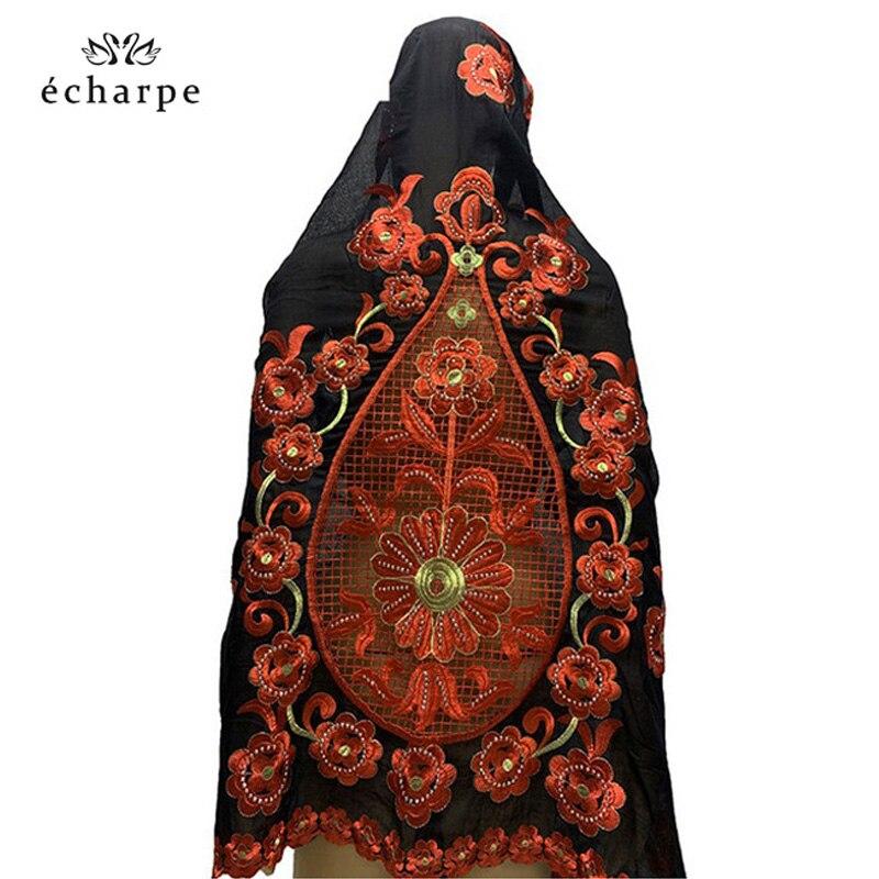 Grande fleur broderie écharpes sur le dos femmes africaines écharpes en coton lourd écharpes multifonctions