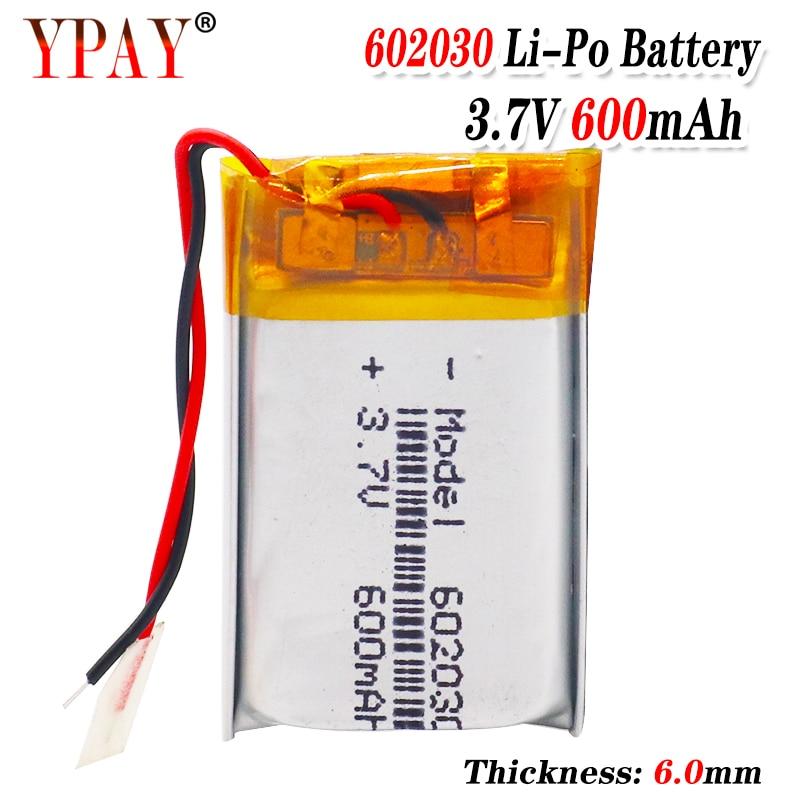 Bateria de polímero 3.7 v bateria de polímero de lítio 602030 600 mah máquina de jogo mp3 mp4 mp5 bateria de lítio gps navigator