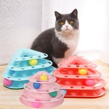 Cztery poziomy zabawka dla kota wieża utwory dysk kot inteligencja rozrywka potrójny dysk zabawki dla kota piłka trening zabawka dla kota kotek tanie tanio Piłki cats Z tworzywa sztucznego Cat toys