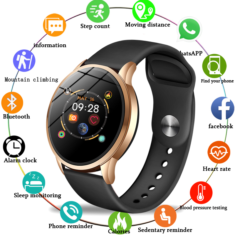 Fitness tracker smart watch women Waterproof Sport For IOS Android phone Smartwatch Heart Rate Monitor Blood Pressure Functions