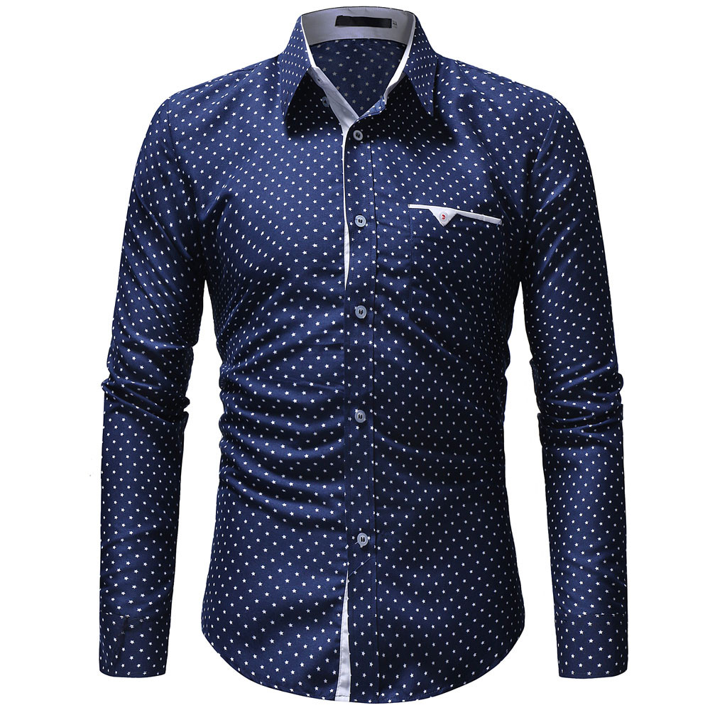 Explosive Shirt! Men's Autumn Casual Formal Polka  Slim Fit Long Sleeve Dress Shirt Top Blouse Are You Sure Not To Buy? Hot Sale