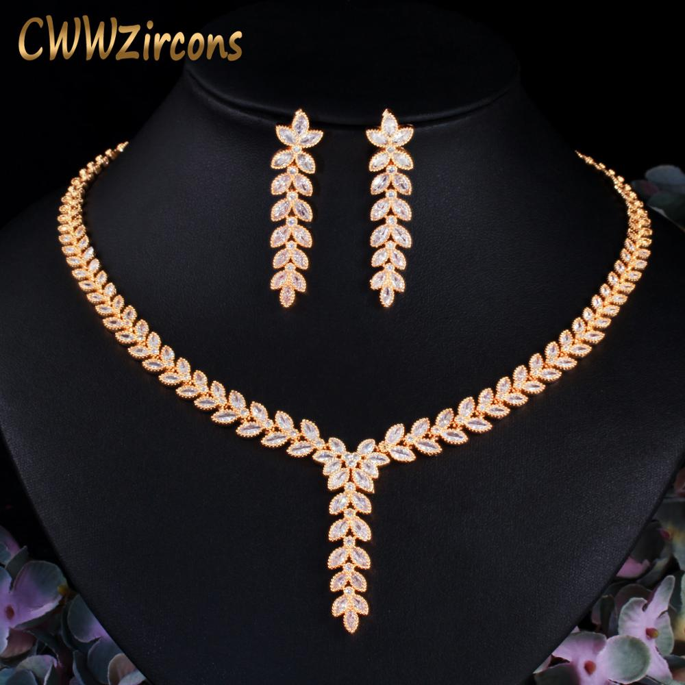 CWWZircons Leaf Shape Dangle Drop Party Earring and Necklace African Nigerian CZ Gold Color Wedding Jewelry Set for Brides T488