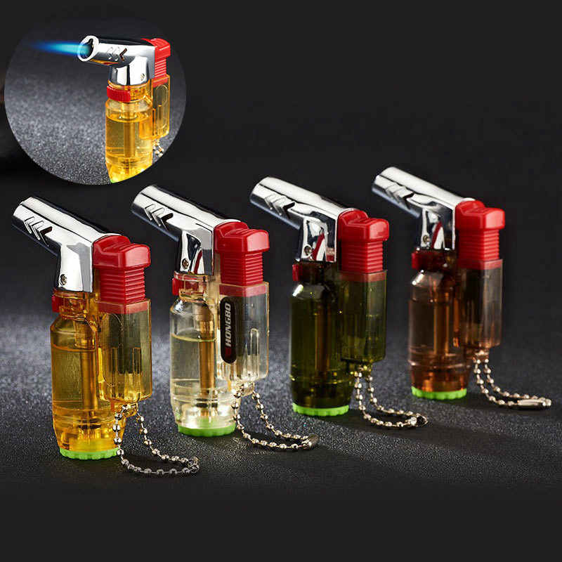 Cerutu Korek Gas Windproof Gas Lebih Ringan Kompak Outdoor Portable Torch Lighter Gantungan Kunci Kreatif Kecil Spray Gun 1300 C